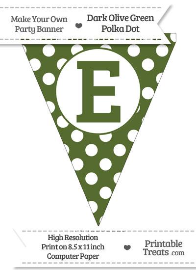 Dark Olive Green Polka Dot Pennant Flag Capital Letter E from PrintableTreats.com
