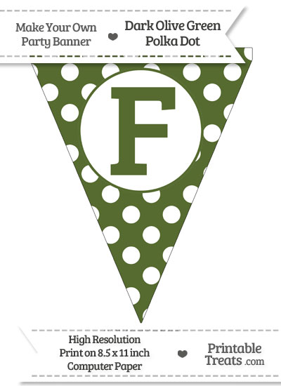 Dark Olive Green Polka Dot Pennant Flag Capital Letter F from PrintableTreats.com