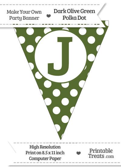 Dark Olive Green Polka Dot Pennant Flag Capital Letter J from PrintableTreats.com