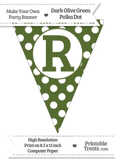 Dark Olive Green Polka Dot Pennant Flag Capital Letter R from PrintableTreats.com