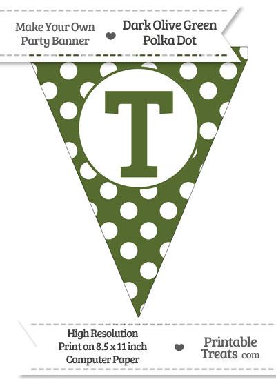 Dark Olive Green Polka Dot Pennant Flag Capital Letter T from PrintableTreats.com