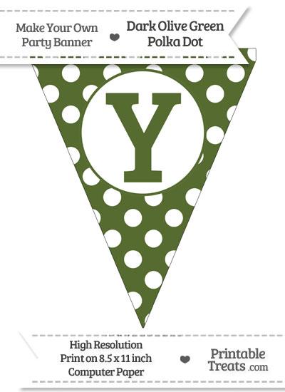 Dark Olive Green Polka Dot Pennant Flag Capital Letter Y from PrintableTreats.com