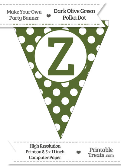 Dark Olive Green Polka Dot Pennant Flag Capital Letter Z from PrintableTreats.com