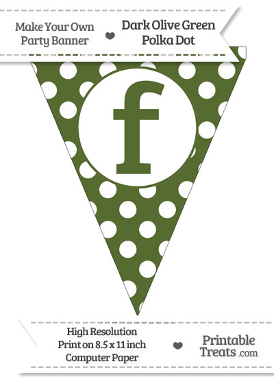 Dark Olive Green Polka Dot Pennant Flag Lowercase Letter F from PrintableTreats.com