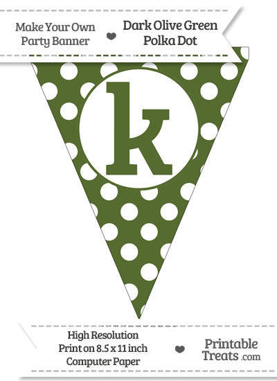 Dark Olive Green Polka Dot Pennant Flag Lowercase Letter K from PrintableTreats.com