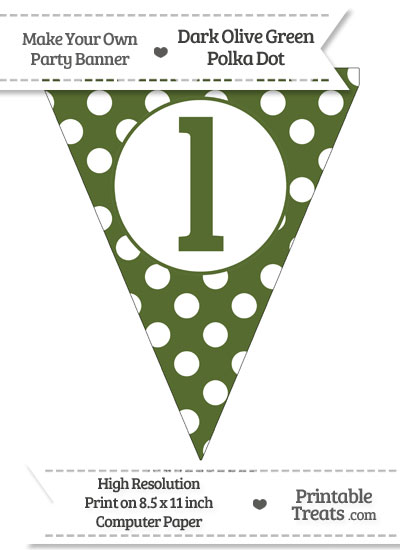 Dark Olive Green Polka Dot Pennant Flag Lowercase Letter L from PrintableTreats.com
