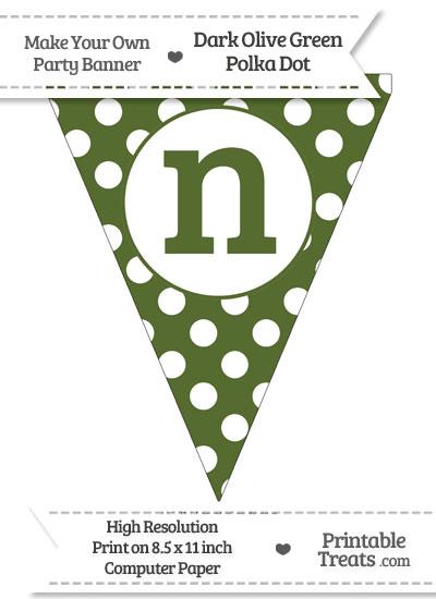 Dark Olive Green Polka Dot Pennant Flag Lowercase Letter N from PrintableTreats.com