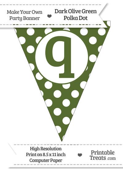 Dark Olive Green Polka Dot Pennant Flag Lowercase Letter Q from PrintableTreats.com