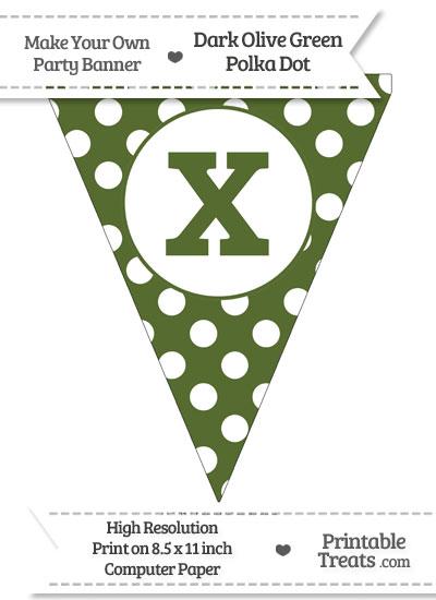 Dark Olive Green Polka Dot Pennant Flag Lowercase Letter X from PrintableTreats.com