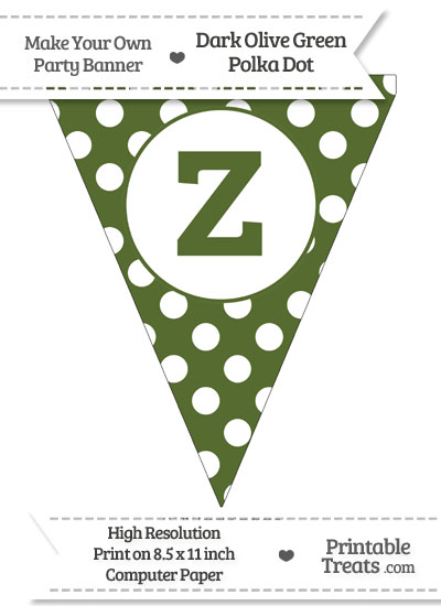 Dark Olive Green Polka Dot Pennant Flag Lowercase Letter Z from PrintableTreats.com