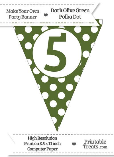 Dark Olive Green Polka Dot Pennant Flag Number 5 from PrintableTreats.com