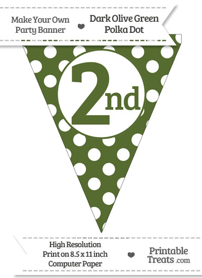 Dark Olive Green Polka Dot Pennant Flag Ordinal Number 2nd from PrintableTreats.com