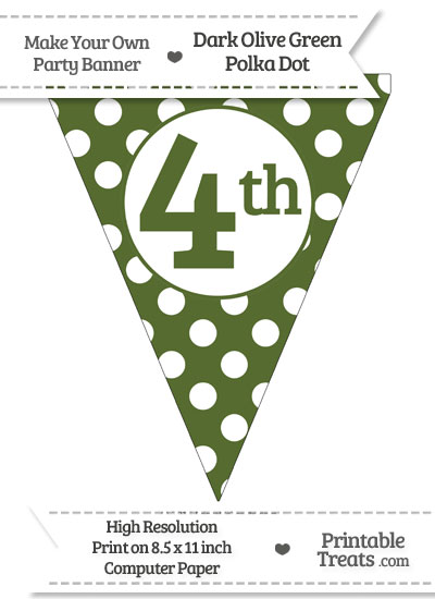 Dark Olive Green Polka Dot Pennant Flag Ordinal Number 4th from PrintableTreats.com