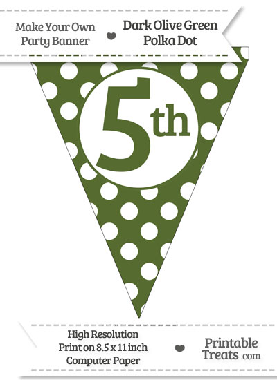 Dark Olive Green Polka Dot Pennant Flag Ordinal Number 5th from PrintableTreats.com