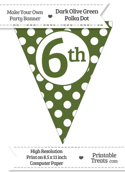 Dark Olive Green Polka Dot Pennant Flag Ordinal Number 6th from PrintableTreats.com