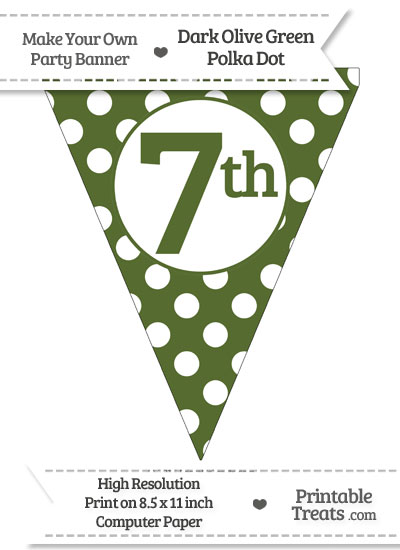 Dark Olive Green Polka Dot Pennant Flag Ordinal Number 7th from PrintableTreats.com