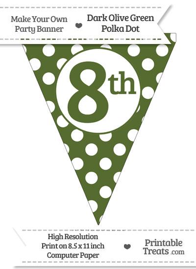 Dark Olive Green Polka Dot Pennant Flag Ordinal Number 8th from PrintableTreats.com