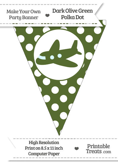 Dark Olive Green Polka Dot Pennant Flag with Airplane Facing Left from PrintableTreats.com