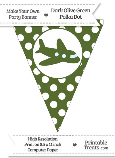 Dark Olive Green Polka Dot Pennant Flag with Airplane Facing Right from PrintableTreats.com