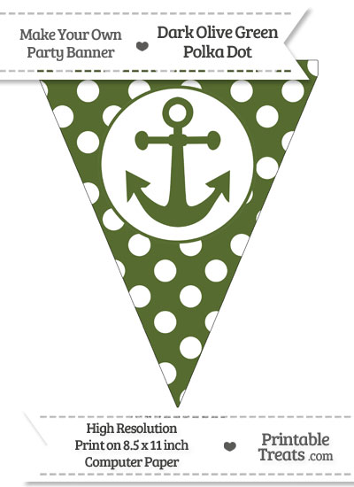 Dark Olive Green Polka Dot Pennant Flag with Anchor from PrintableTreats.com