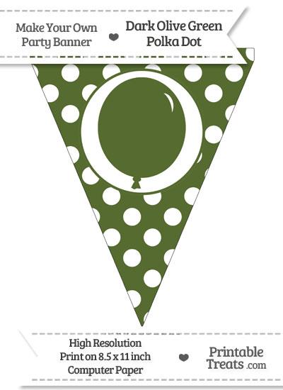 Dark Olive Green Polka Dot Pennant Flag with Birthday Balloon from PrintableTreats.com