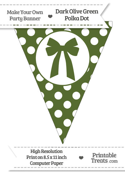 Dark Olive Green Polka Dot Pennant Flag with Bow from PrintableTreats.com
