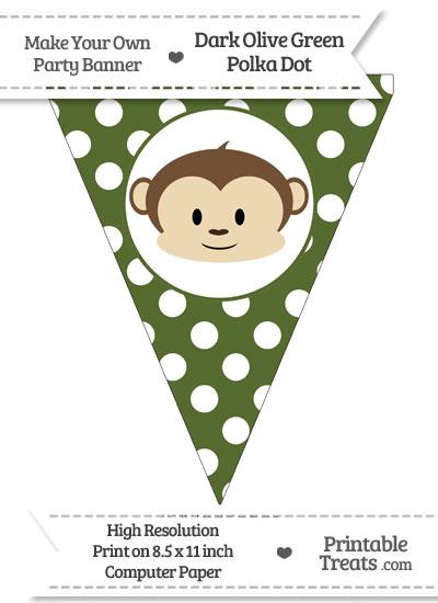 Dark Olive Green Polka Dot Pennant Flag with Boy Monkey from PrintableTreats.com