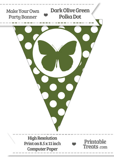 Dark Olive Green Polka Dot Pennant Flag with Butterfly from PrintableTreats.com