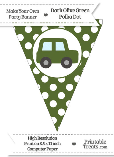 Dark Olive Green Polka Dot Pennant Flag with Car Facing Right from PrintableTreats.com
