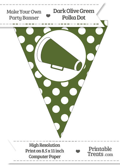 Dark Olive Green Polka Dot Pennant Flag with Cheer Megaphone Facing Left from PrintableTreats.com