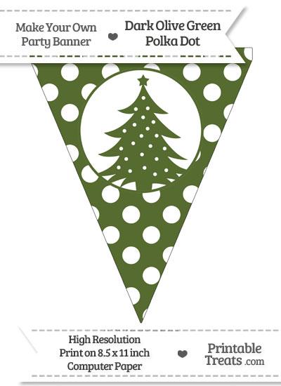 Dark Olive Green Polka Dot Pennant Flag with Christmas Tree from PrintableTreats.com