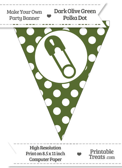 Dark Olive Green Polka Dot Pennant Flag with Diaper Pin Facing Left from PrintableTreats.com