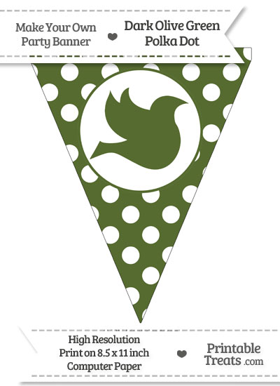 Dark Olive Green Polka Dot Pennant Flag with Dove Facing Right from PrintableTreats.com
