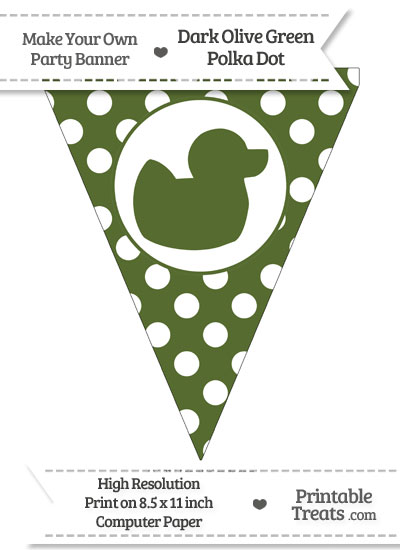 Dark Olive Green Polka Dot Pennant Flag with Duck Facing Right from PrintableTreats.com