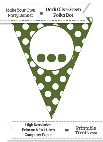 Dark Olive Green Polka Dot Pennant Flag with Ellipses from PrintableTreats.com