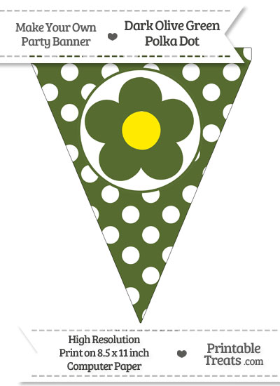 Dark Olive Green Polka Dot Pennant Flag with Flower from PrintableTreats.com