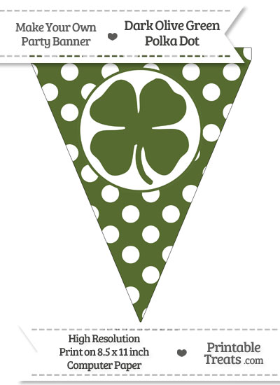 Dark Olive Green Polka Dot Pennant Flag with Four Leaf Clover Facing Left from PrintableTreats.com