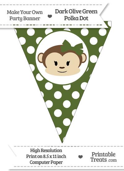 Dark Olive Green Polka Dot Pennant Flag with Girl Monkey from PrintableTreats.com