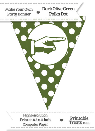 Dark Olive Green Polka Dot Pennant Flag with Hand Pointing Right from PrintableTreats.com