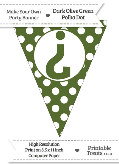 Dark Olive Green Polka Dot Pennant Flag with Inverted Question Mark from PrintableTreats.com