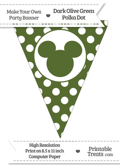 Dark Olive Green Polka Dot Pennant Flag with Mickey Mouse from PrintableTreats.com