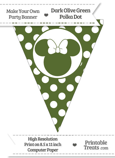 Dark Olive Green Polka Dot Pennant Flag with Minnie Mouse from PrintableTreats.com
