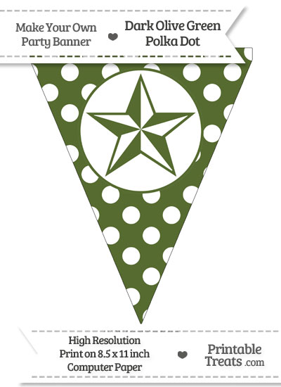 Dark Olive Green Polka Dot Pennant Flag with Nautical Star from PrintableTreats.com