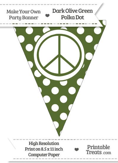 Dark Olive Green Polka Dot Pennant Flag with Peace Sign from PrintableTreats.com