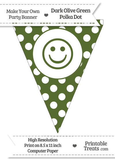 Dark Olive Green Polka Dot Pennant Flag with Smiley Face from PrintableTreats.com