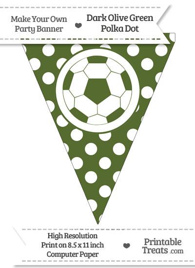 Dark Olive Green Polka Dot Pennant Flag with Soccer Ball from PrintableTreats.com
