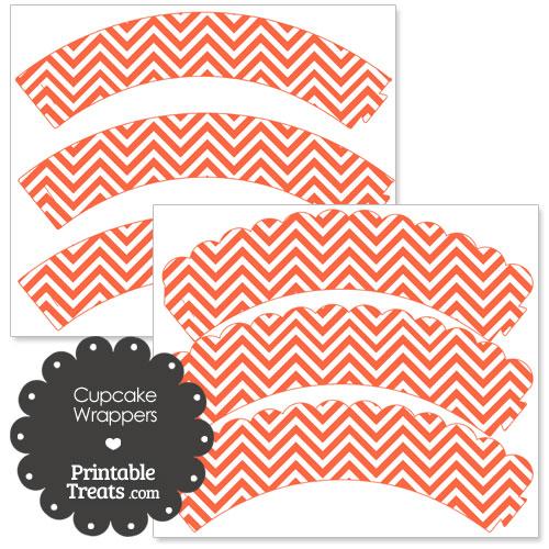 dark orange chevron cupcake wrappers