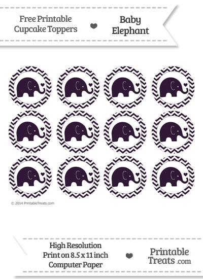 Dark Purple Baby Elephant Chevron Cupcake Toppers from PrintableTreats.com
