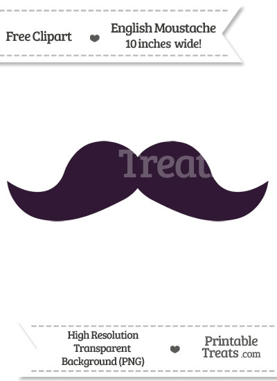 Dark Purple English Mustache Clipart from PrintableTreats.com