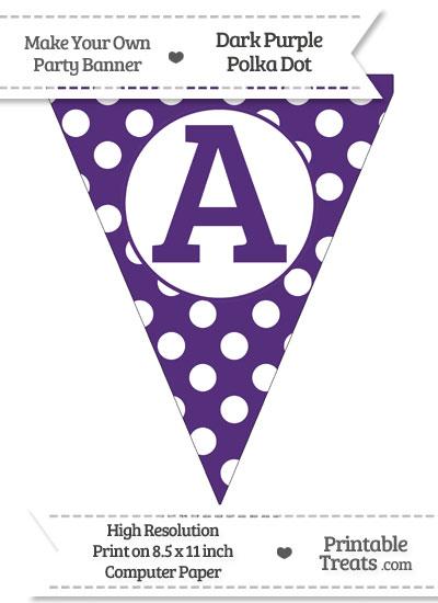 Dark Purple Polka Dot Pennant Flag Capital Letter A from PrintableTreats.com